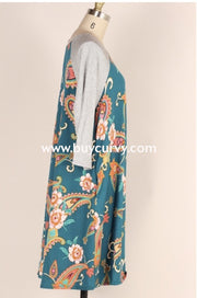 Cp-R {Now Or Never} Teal Floral Paisley Contrast Dress