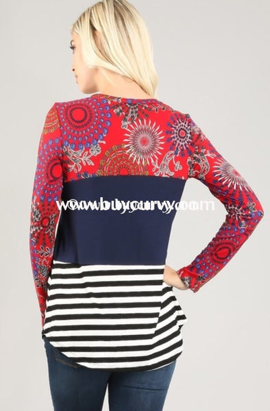 Cp-R Red Printed Contrast Top With Navy Middle
