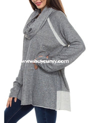 Cp-S Adora Gray French Terry Knit With Cowl Neck Sale!! Contrast