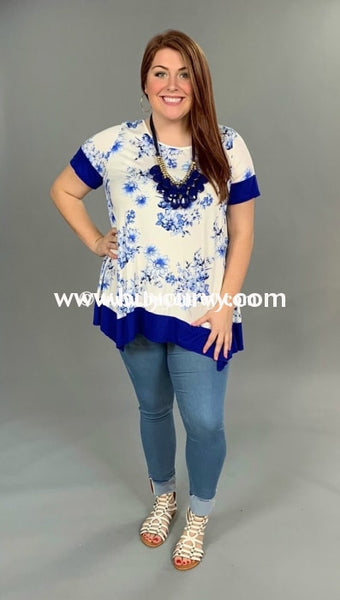 Cp-S {I Won} Royal Blue/ivory Floral Print Sale!! Contrast