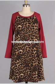 Cp-S {Stylish Spirit} Leopard Knit Dress With Burgundy Sleeves Contrast