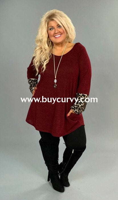 Cp-S {Worth My Time} Burgundy Leopard Knit Tunic With Hood Contrast
