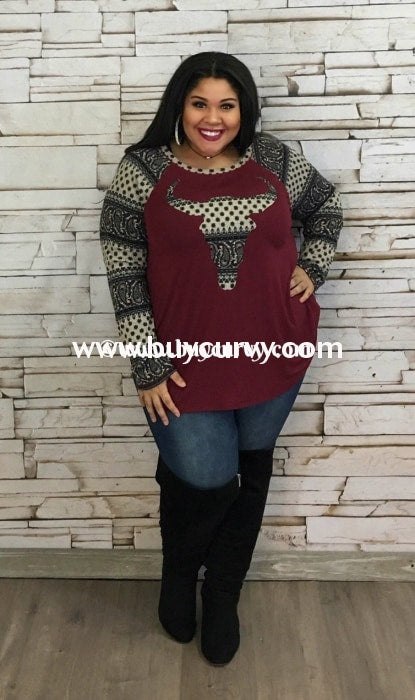 Cp-T Burgundy Bullhead Top With Stretchy Knit Printed Detail Contrast