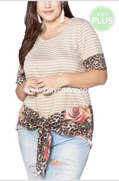 Cp-T {Fearless Attitude} Tan Striped Top With Leopard Floral Detail Contrast