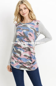 Cp-T {Life Happens} Gray/pink Camo Top With Button Detail Contrast