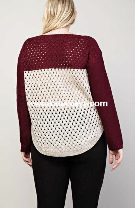 Cp-T {Show & Tell} Color-Block Burgundy Knit Sale!! Contrast