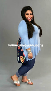 Cp-U {Without A Doubt} Blue V-Neck With Floral Contrast Top