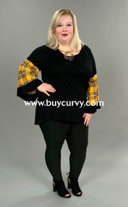 Cp-V {Bless You} Black Tunic With Wide Mustard Plaid Sleeves Contrast