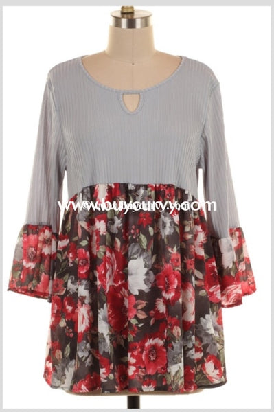 Cp-W {Embrace Me} Gray Keyhole Tunic With Floral Contrast