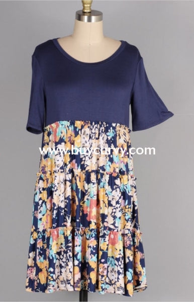 Cp-W {Tell Me Secrets} Navy Dress With Floral Contrast Layers