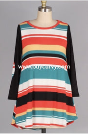 Cp-X {Easy Does It} Orange/teal Striped Top With Black Sleeves Extended Plus Contrast