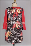 Cp-X {Fancy & Free} Red/floral Contrast Print Hi-Lo Tunic