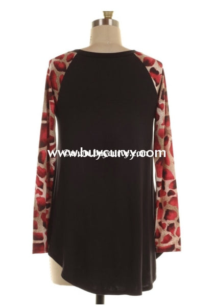Cp-X This Love I Found Black Tunic W/ Red Animal Print Sleeves Contrast