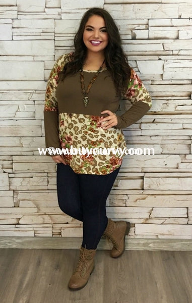 Cp-Y Mocha/floral Contrast With Long Sleeves Sale!