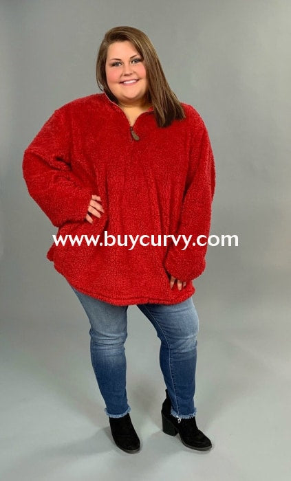 Cp-Y Red Soft Cozy Sherpa Pullover{C.c. Beanie Brand!} Contrast