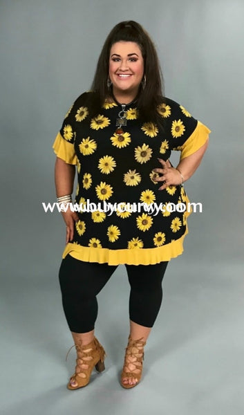 Cp-Y Sunny Days Black Sunflowers W Ruffle Hem {Sale!!} Contrast