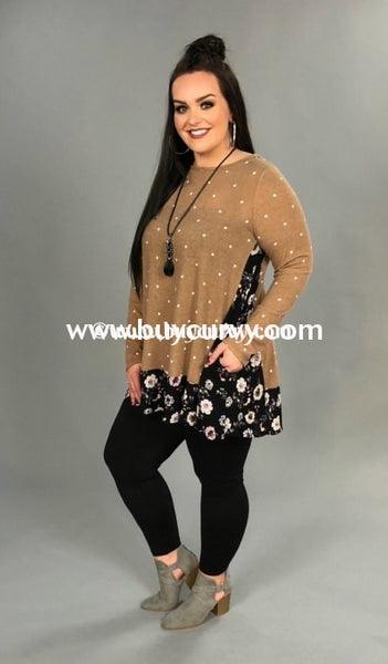 Cp-Z Cappuccino Polka Dot With Floral Knit Hem Sale!! Contrast