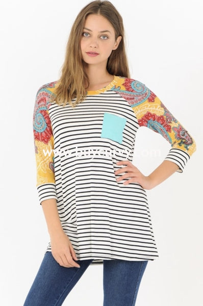 Cp-Z {Spring Fever} Ivory Striped Top With Printed Sleeves Extended Plus Contrast