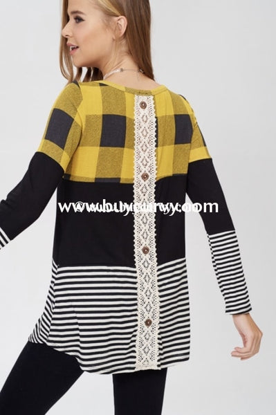 Cp-Z {Thats All She Wrote} Mustard Striped Plaid Contrast Top