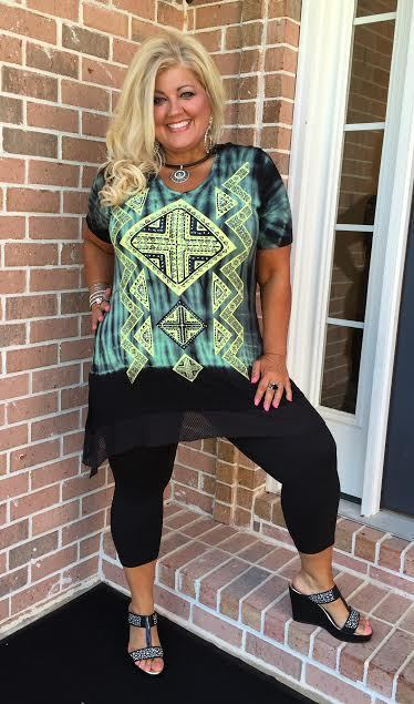 "#9-U ""VOCAL"" Black/Green Tunic with Stone Detail"