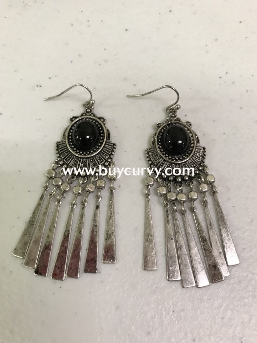 Ear-A Black Egyptian Earrings With Silver Fringes