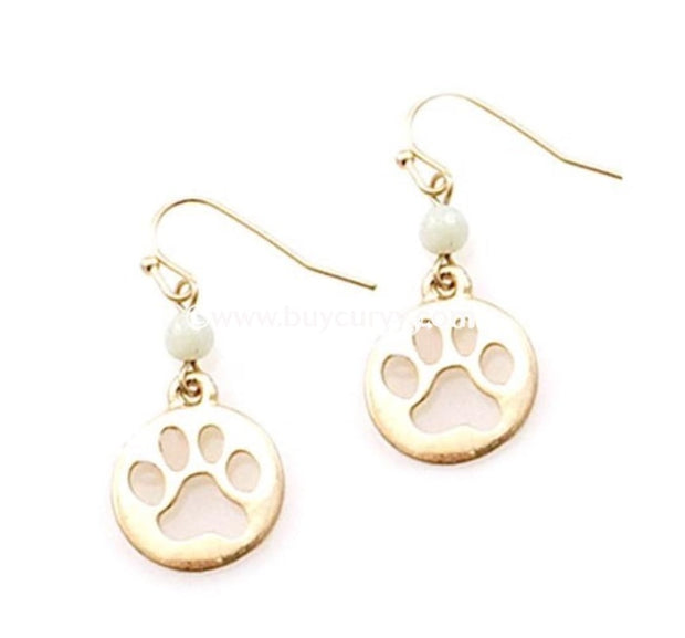 Ear-A Gold Dog Paw Earrings With Ivory Stone