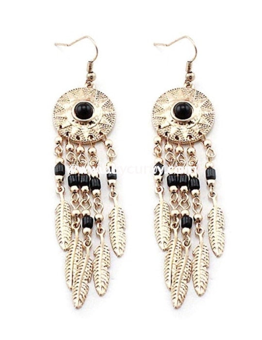 Ear-A Gold Dream Catcher Earrings With Black Stone *