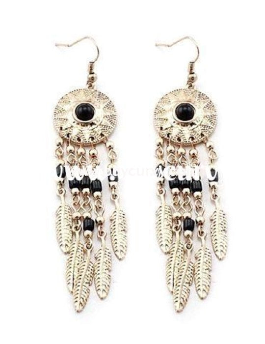 Ear-A Gold Dream Catcher Earrings With Black Stone