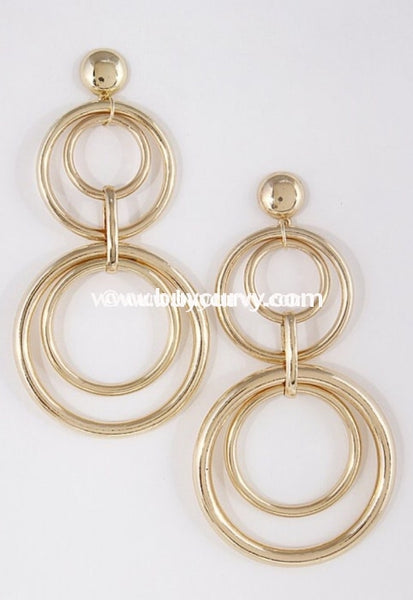 Ear-A Gold Multi Circle Dangle Earrings