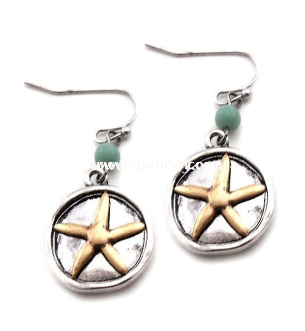 Ear-A Silver Earrings With Gold Starfish Detail