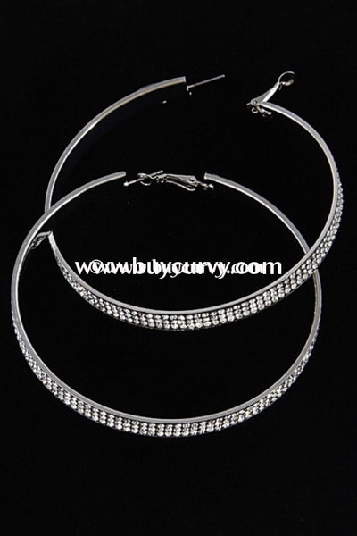 Ear-A Silver Rhinestone Hoop Earrings