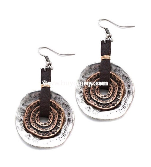 Ear-A Silver/gold Hammered Circle Leather Earrings