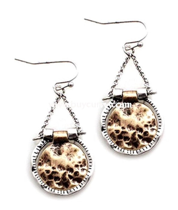 Ear-A Silver/gold Hammered Detail Circle Earrings