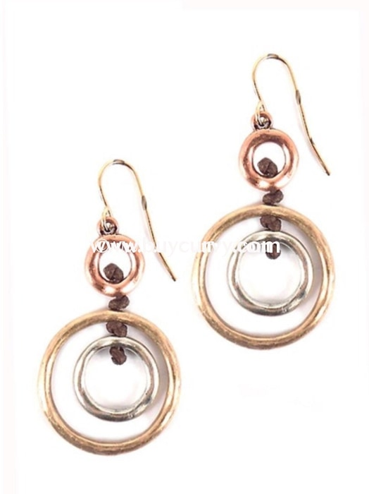 Ear-A Tri-Color Circle Earrings