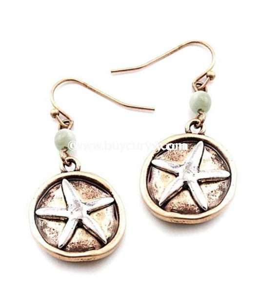 Ear-B Gold Earrings With Silver Starfish And Mint Stone