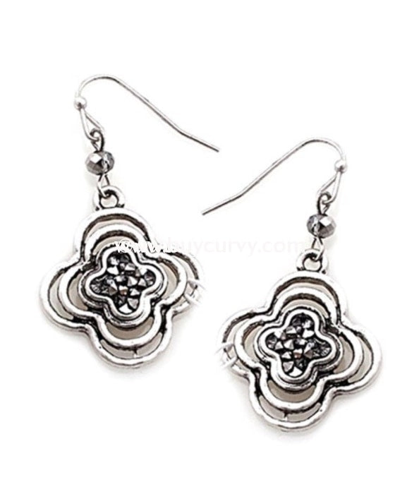 Ear-B Silver Flower Earrings With Graphite Rhinestone Center