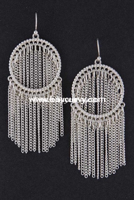 Ear-B Silver Hoop Earrings With Chain Link Fringed Detail