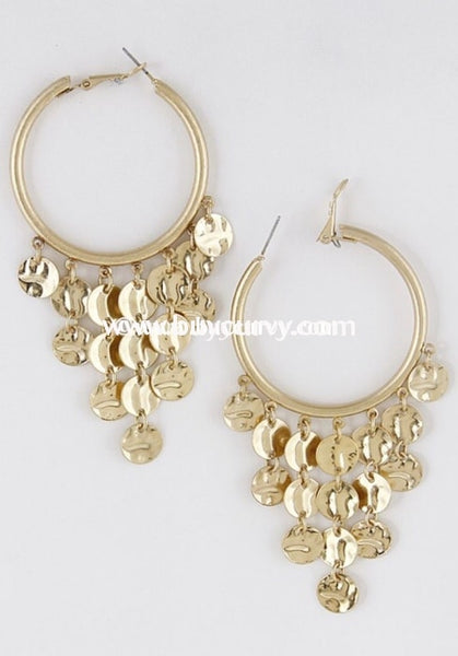 Ear-C Gold Earrings With Multi Circle Pendant
