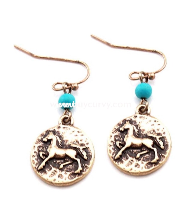 Ear-C Gold Horse Earrings With Teal Stone
