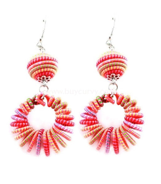 Ear-C Pink Multi Colored Earrings With Circle Rings