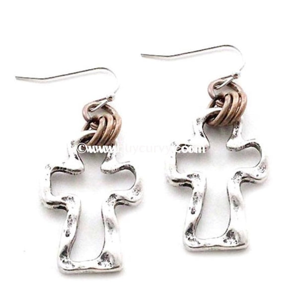 Ear-C Silver Cross Earrings With Gold Rings