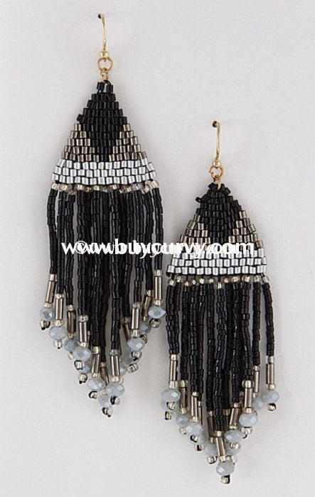 Ear-D Black/gray Beaded Fringe Earrings