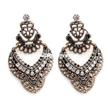 Ear-D Gold Antique Detailed Earrings With Diamond Detail