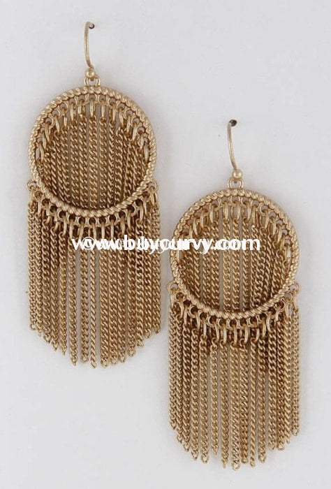 Ear-D Gold Hoop Earrings With Chain Link Fringed Detail