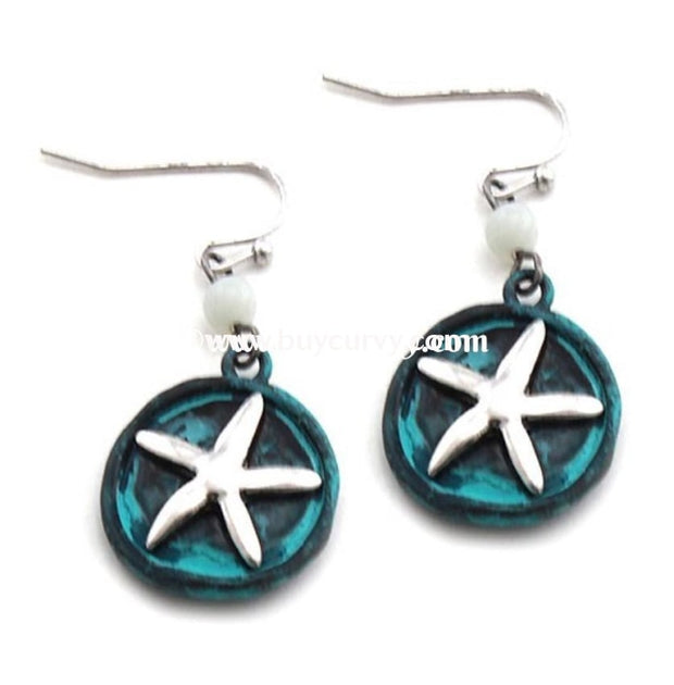 Ear-D Teal Earrings With Silver Starfish Detail