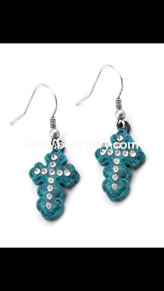 Er-B Story Turquoise Cross With Little Diamond Earrings
