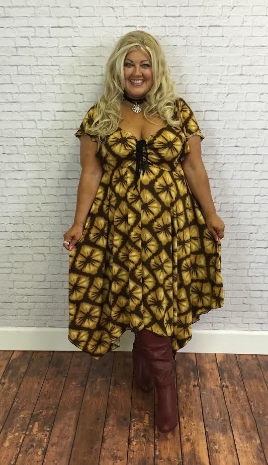 #9-T Mustard Printed Prairie Dress (4X5X6X)