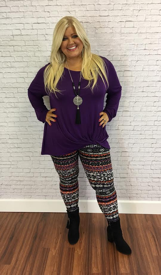 #9-M Rayon/Spandex PURPLE Tunic with Gathered Knot Detail