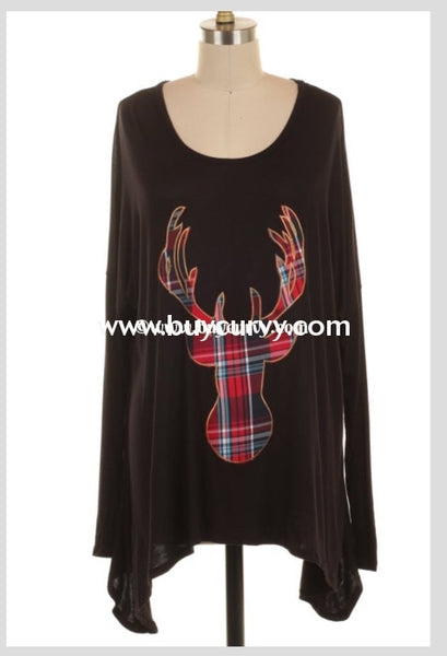 Gt-A Asymmetrical Black Top With Plaid Deer Patch Graphic