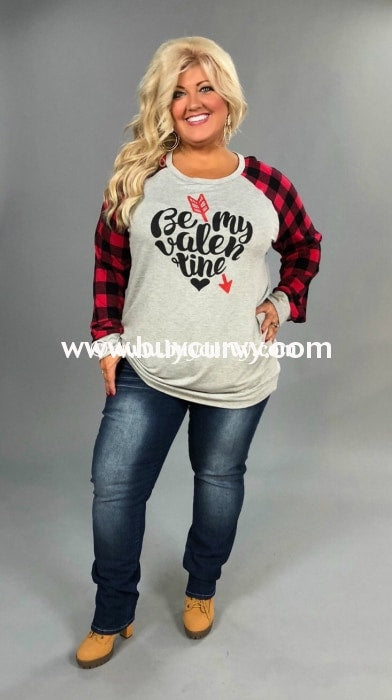 Gt-B Be My Valentine French Terry Top With Plaid Sleeves Graphic